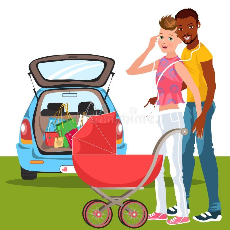 Homens felizes dos desenhos animados com o bebê de amor no transporte vermelho ilustração royalty free