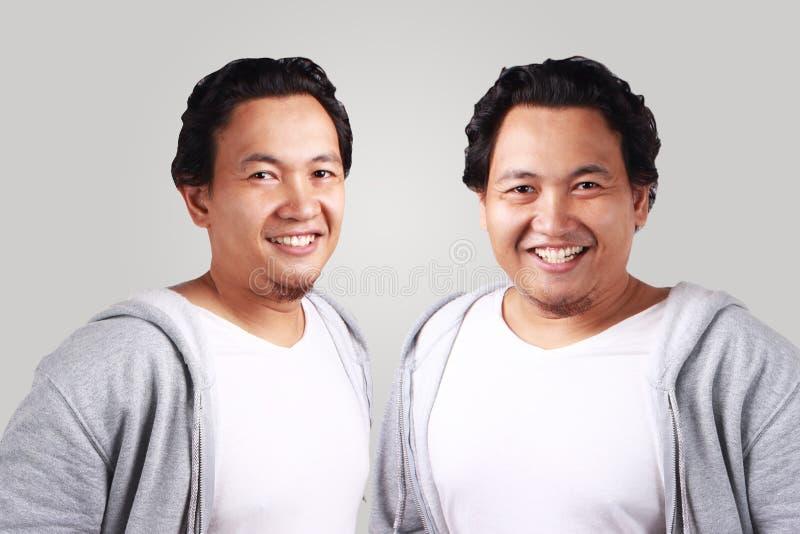 Homens gêmeos magros e gordura, sorrindo seguramente fotos de stock