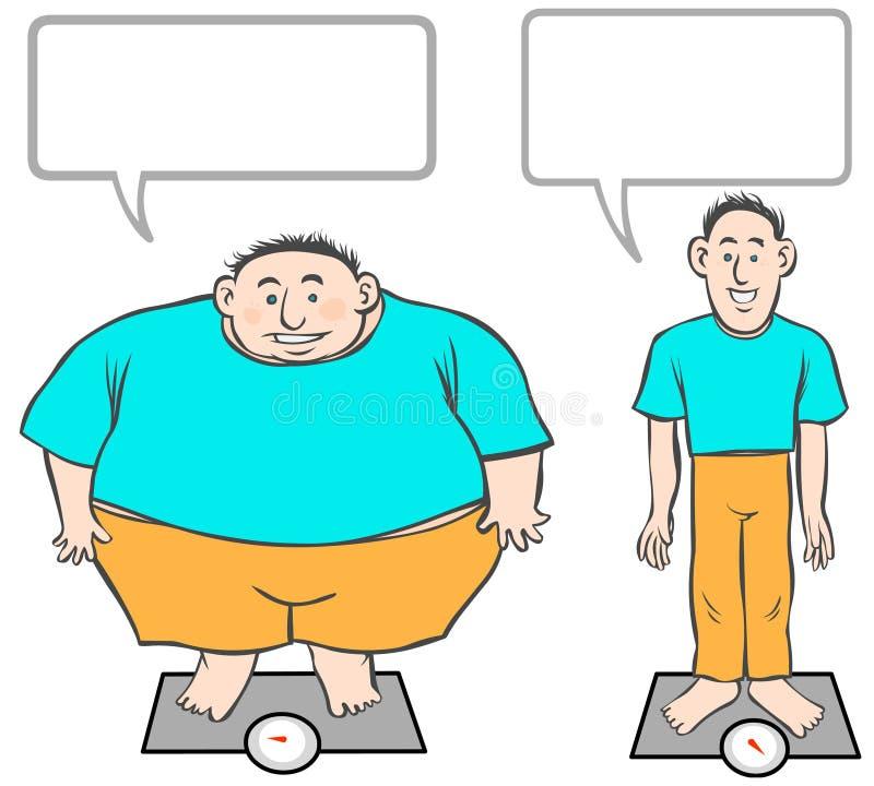 Homens Gordo-Magros dos desenhos animados. ilustração stock