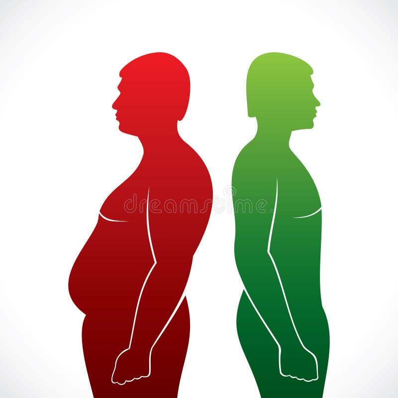 Homens gordos e magros ilustração royalty free