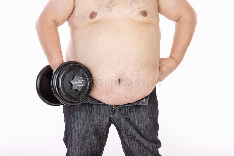 Homens grandes da barriga antes da dieta e da aptid?o fotografia de stock royalty free
