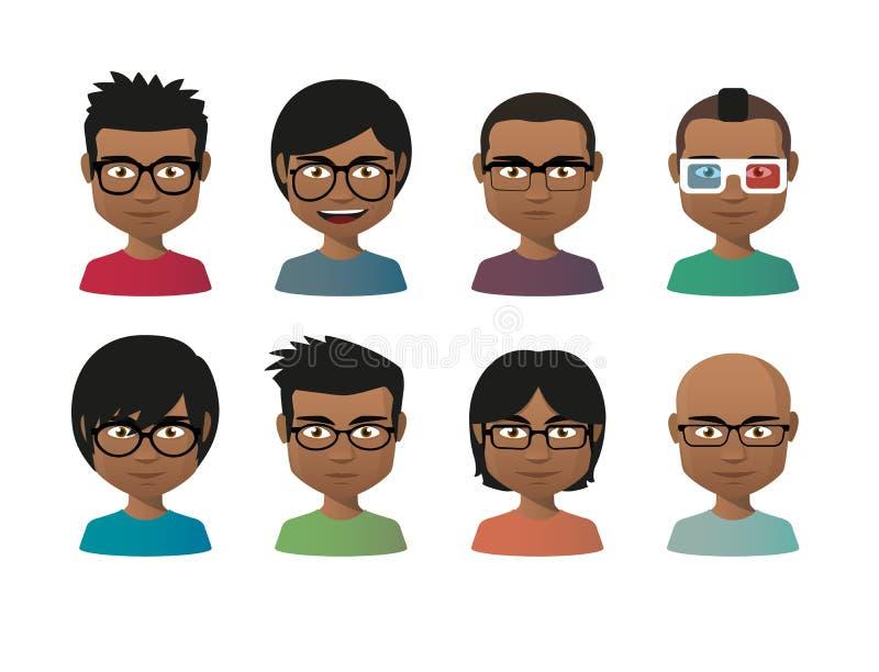 Homens indianos novos que vestem o grupo do avatar dos vidros ilustração do vetor