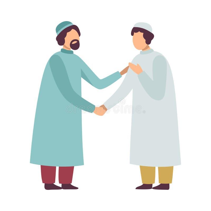 Homens muçulmanos na roupa tradicional que cumprimentam-se e que agitam as mãos como elas que comemoram Eid Al Adha Islamic Holid ilustração do vetor