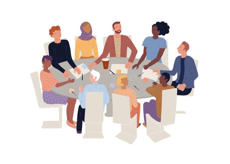 Homens, mulheres de diferentes idades, nacionalidades sentados em mesas redondas Terapia de grupo, reunião de brainstorming ilustração do vetor
