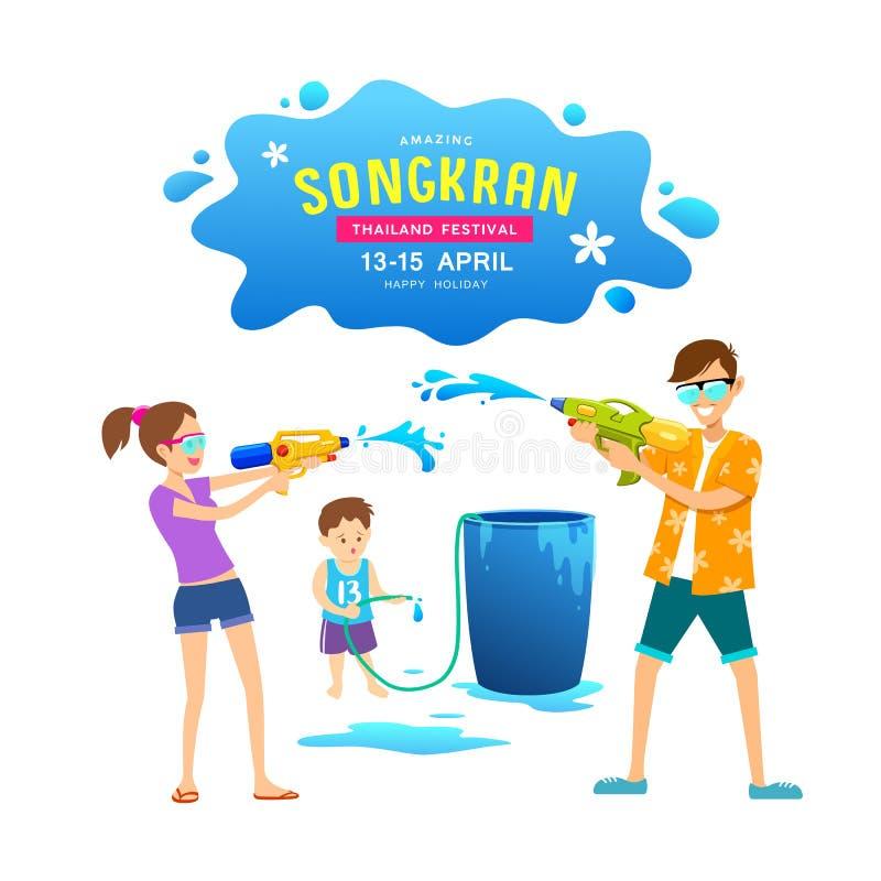 Homens, mulheres e crianças do vetor jogando armas de água no dia feliz de Songkran ilustração stock