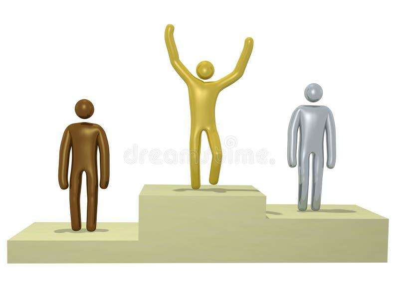 Homens no pódio ilustração royalty free