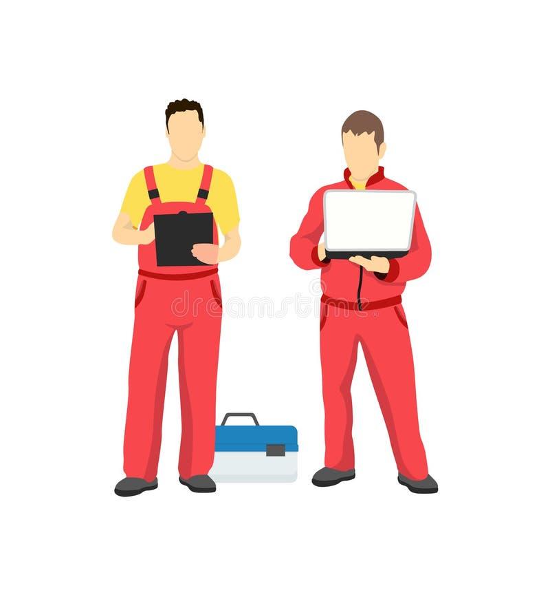 Homens no uniforme do trabalho isolado no contexto branco ilustração do vetor