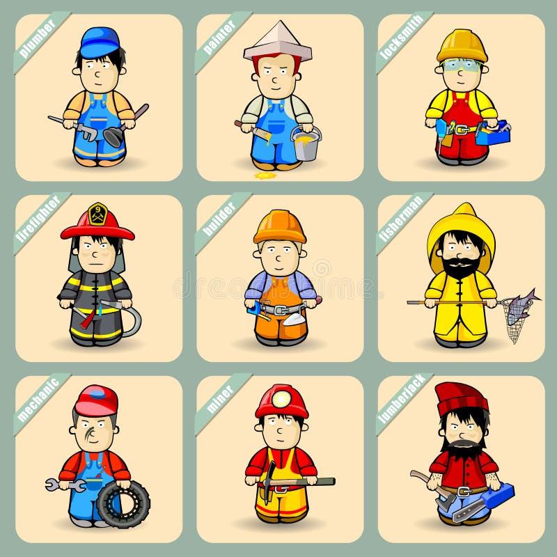 Homens nos trajes de profissões diferentes ilustração do vetor