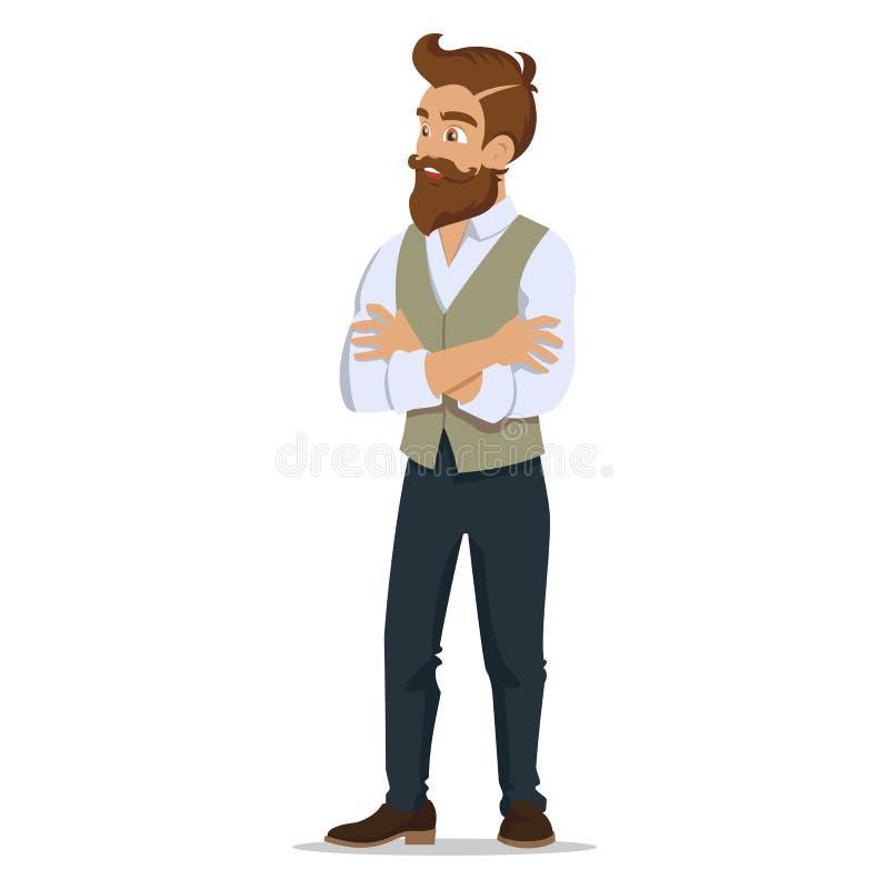 Homens novos atrativos no moderno novo da roupa elegante Homem bonito dos desenhos animados Ilustração bem sucedida do vetor dos  ilustração royalty free