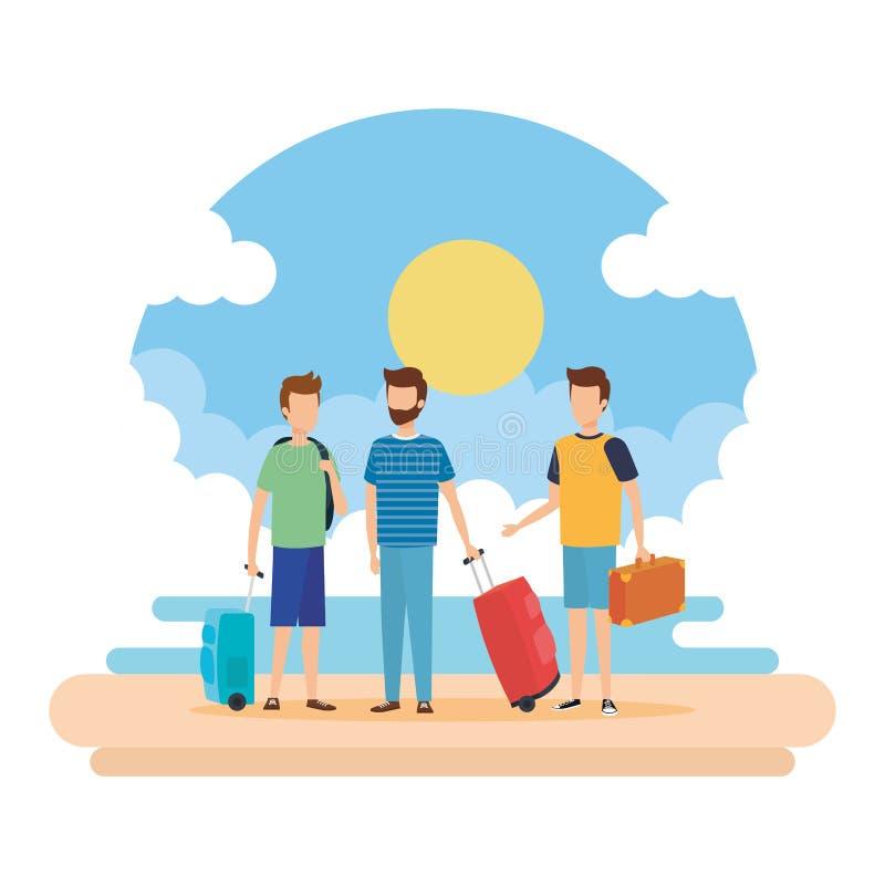 Homens novos com as malas de viagem na praia ilustração royalty free