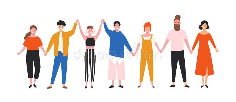 Homens novos felizes e mulheres engraçados que guardam as mãos Povos de sorriso bonitos que estão na fileira junto Grupo de amigo ilustração royalty free