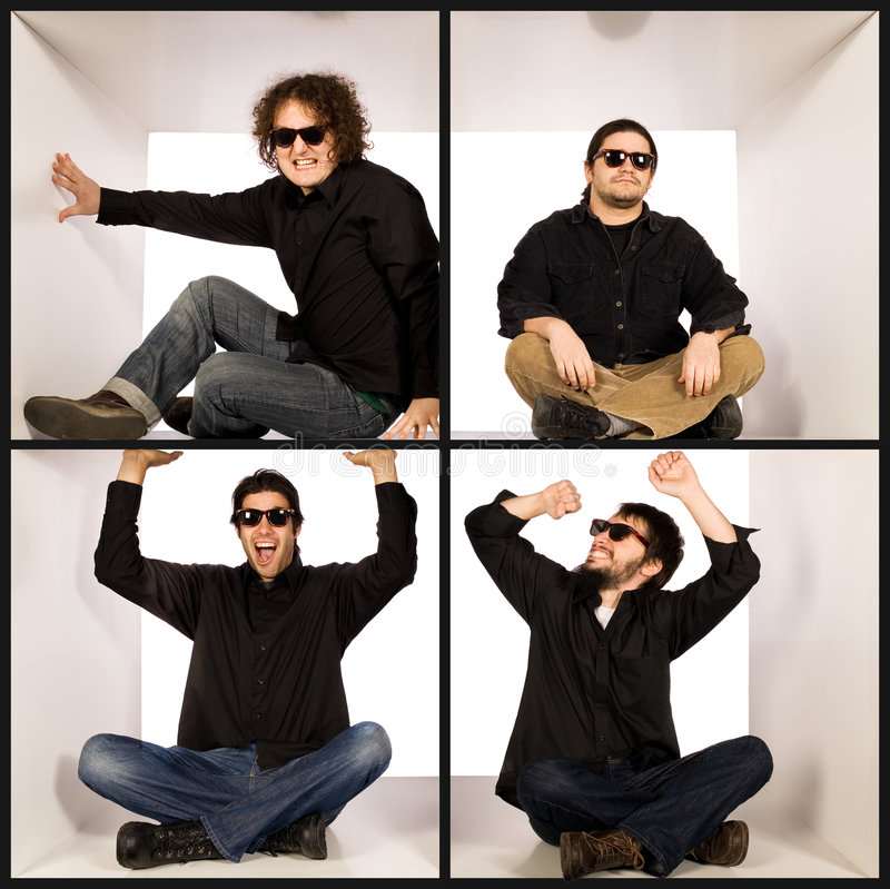 Homens novos frescos no preto fotografia de stock