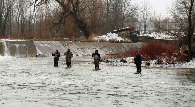 Homens que apreciam um dia da pesca do inverno no rio de Saugeen em Walkerton, Ontário foto de stock royalty free
