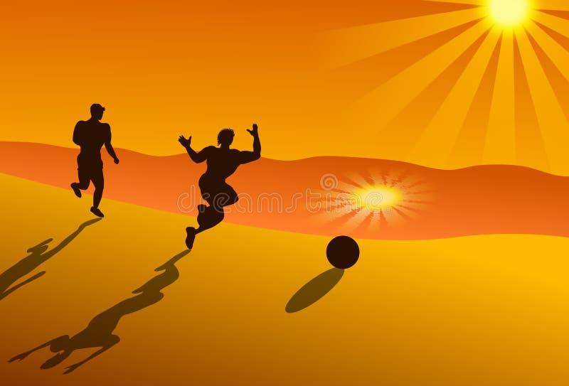 Homens que jogam o jogo de bola em uma praia do verão ilustração royalty free