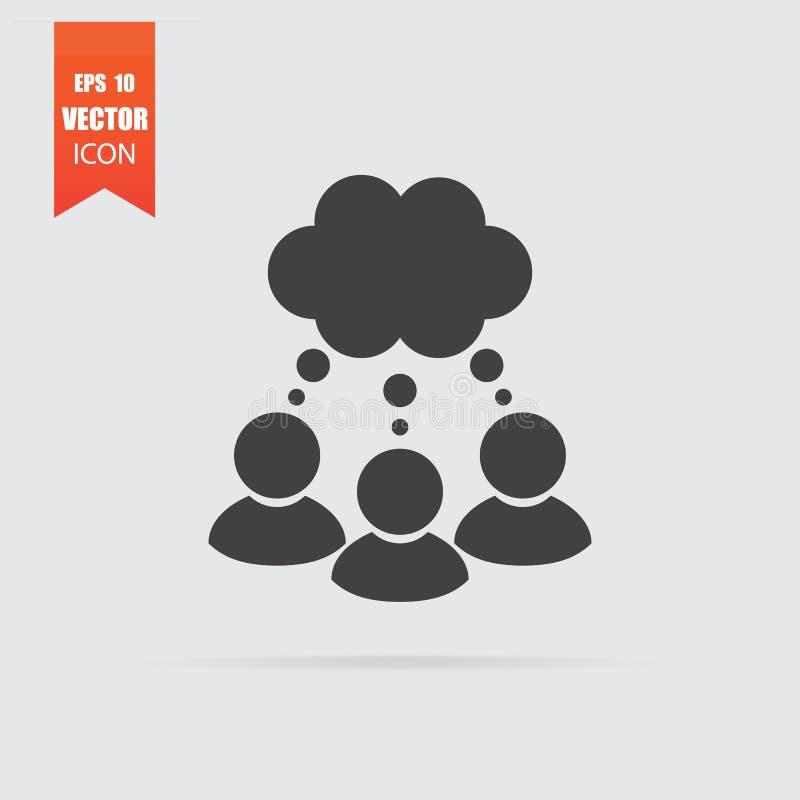 Homens que pensam com o ícone da conversa da bolha no estilo liso isolado no fundo cinzento ilustração do vetor