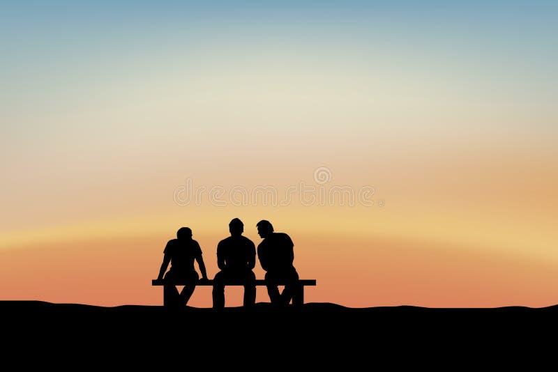 Homens que sentam-se e que falam no por do sol ilustração royalty free