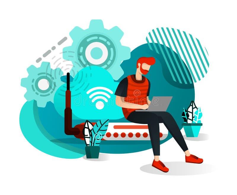 Homens que sentam-se no cubo do router e conectados ao Internet de Wifi Internet das coisas para obter a informação e os dados Ch ilustração do vetor