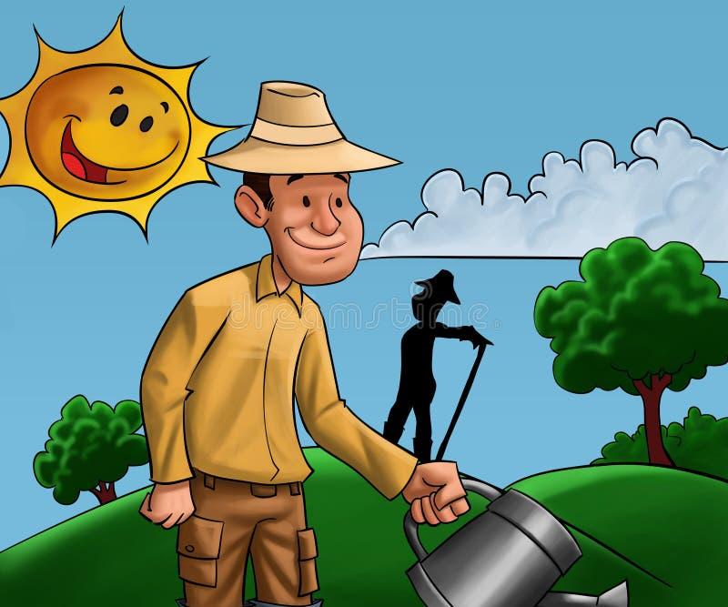 Homens que trabalham na terra ilustração royalty free