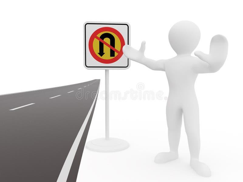 Homens sem o sinal de estrada da volta de U ilustração stock