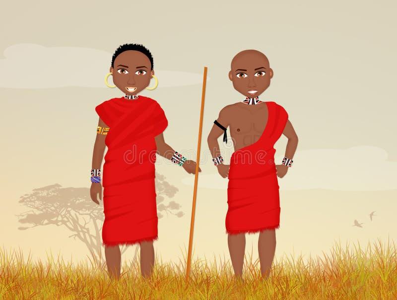 Homens tradicionais do Masai ilustração royalty free