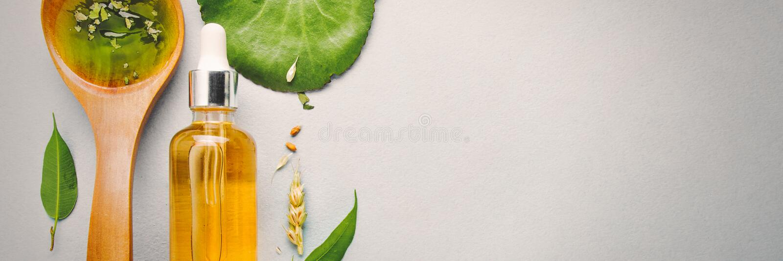 Homeopathic oils, dietary supplements for intestinal health, skin care. stock images