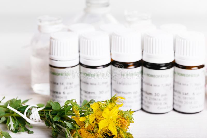 Homeopathy - A homeopathy concept with homeopathic medicine stock images
