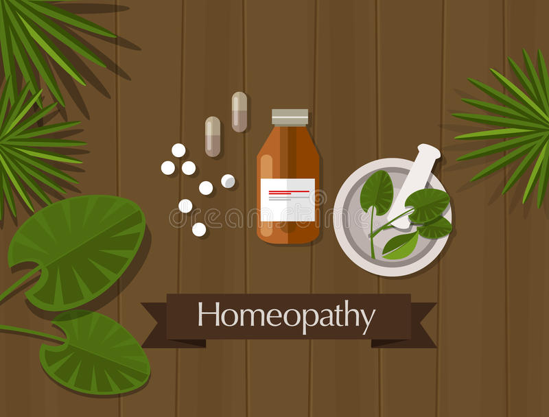 Homeopathy natural herbal medicine alternative. Therapy medication health royalty free illustration