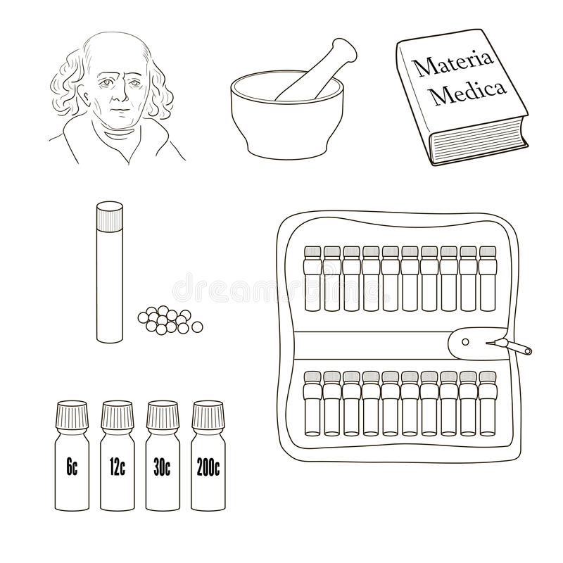 homeopathy symboler ställde in vektorn vektor illustrationer