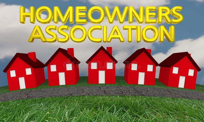 Homeowners Association Group Houses Homes. 3d Illustration stock illustration