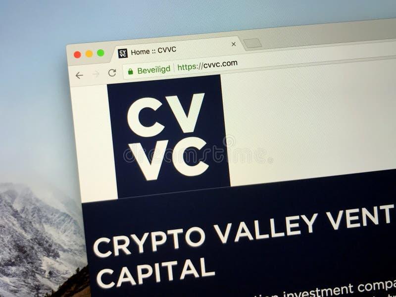 Homepage av Crypto dalföretaghuvudstad CVVC arkivbilder