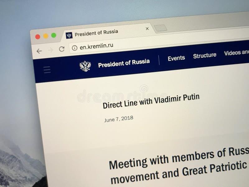 Homepage av den från den ryska federationen presidenten royaltyfria foton
