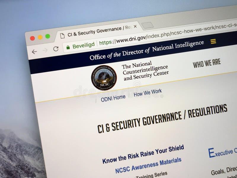 Homepage av den nationella kontraspionage- och säkerhetsmitten NCSC royaltyfri bild