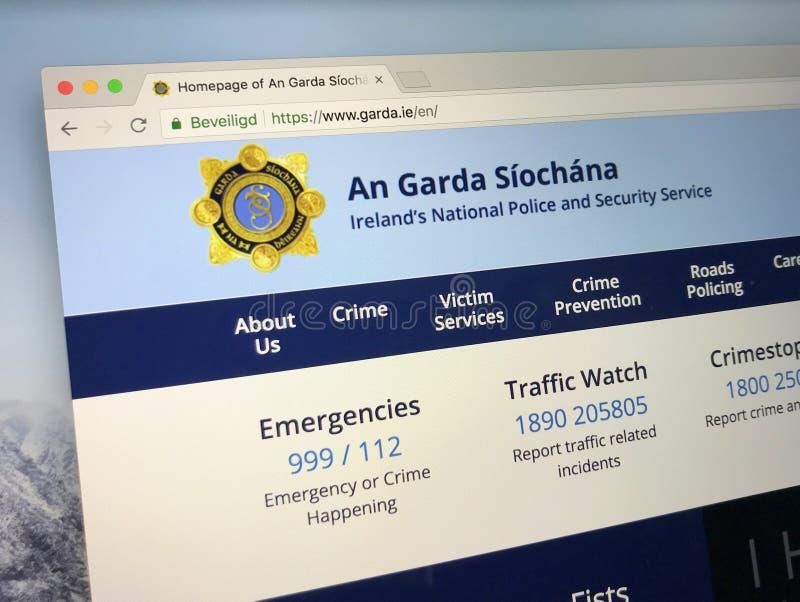 Homepage av nationell polis och säkerhetstjänst för Irland ` s royaltyfri fotografi