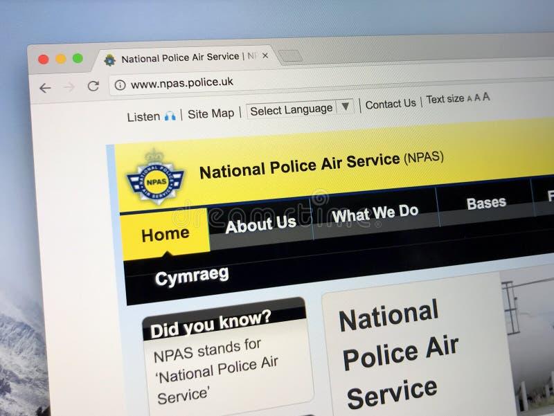 Homepage av nationell polisflygtrafiken - NPAS arkivbilder