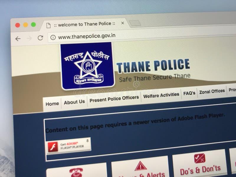 Homepage av polisen av staden av thanen, Indien arkivfoton