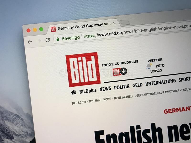 Homepage of The Bild. Amsterdam, the Netherlands - August 30, 2018: Website of The Bild, a German tabloid newspaper royalty free stock image
