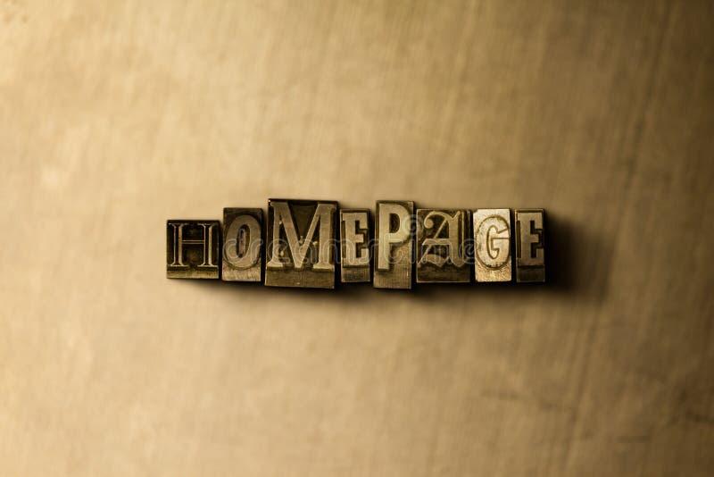 HOMEPAGE - close-up van grungy wijnoogst gezet woord op metaalachtergrond royalty-vrije stock afbeeldingen