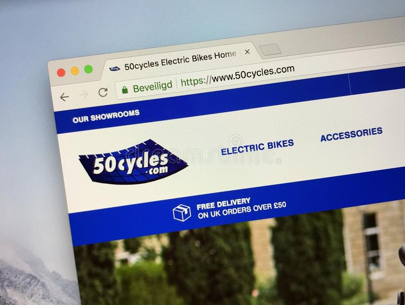 Homepage of 50cycles Electric Bike shop. Amsterdam, the Netherlands - August 26, 2018: Website of 50cycles Electric Bikes, a electrical bike specialist in the UK stock photos