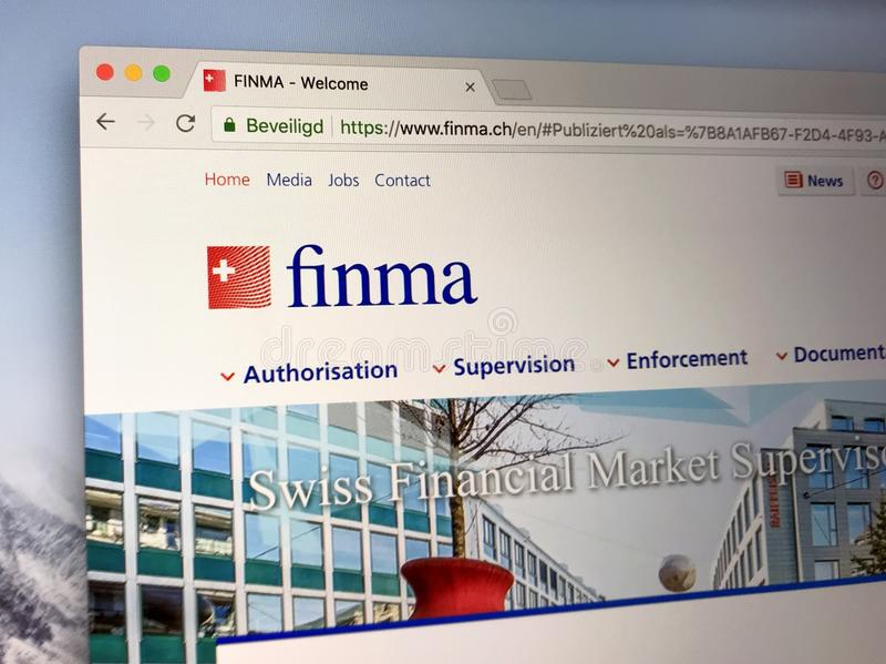 Homepage da autoridade supervisória suíça do mercado financeiro - FINMA fotos de stock royalty free
