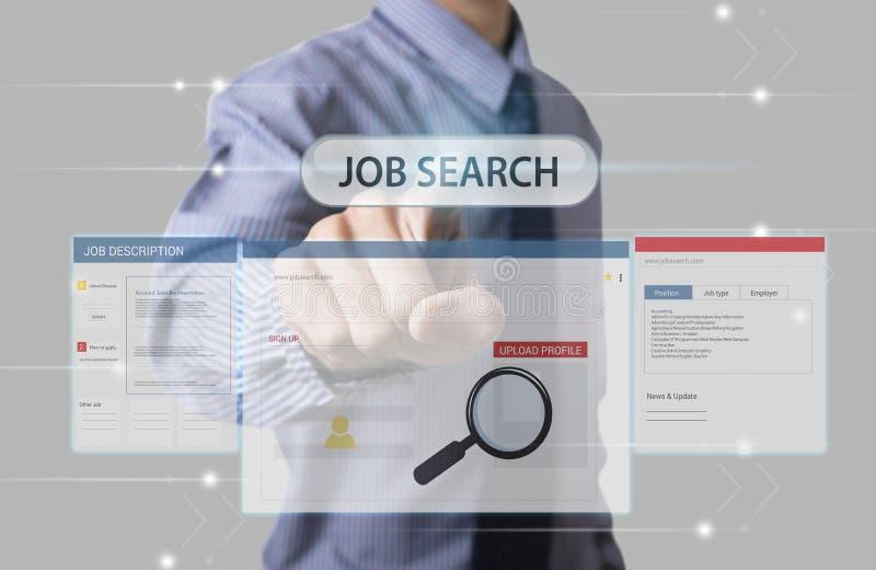 Homepage da Web de Job Search do ponto da mão do negócio na tela fotos de stock royalty free