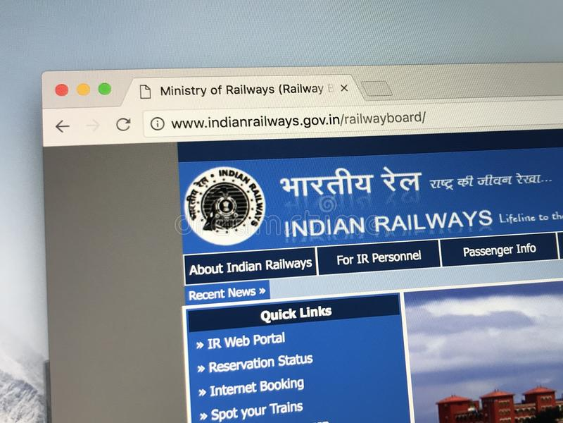 Homepage de ferrocarriles indios imagen de archivo libre de regalías