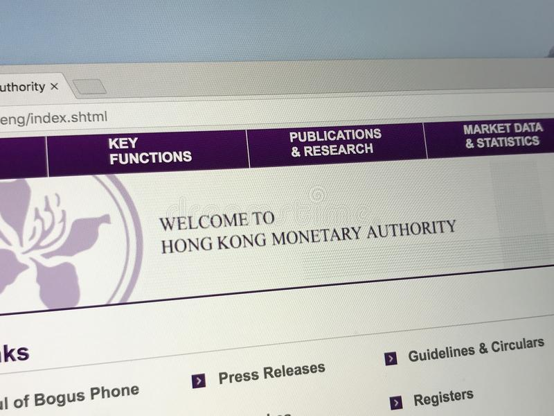 Homepage de Hong Kong Monetary Authority HKMA foto de archivo