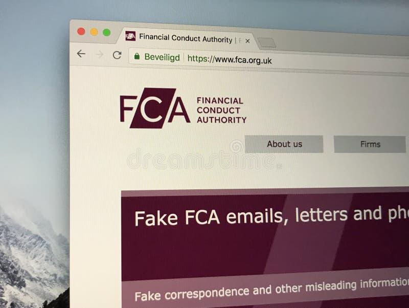 Homepage de la autoridad financiera de la conducta del U K imagenes de archivo