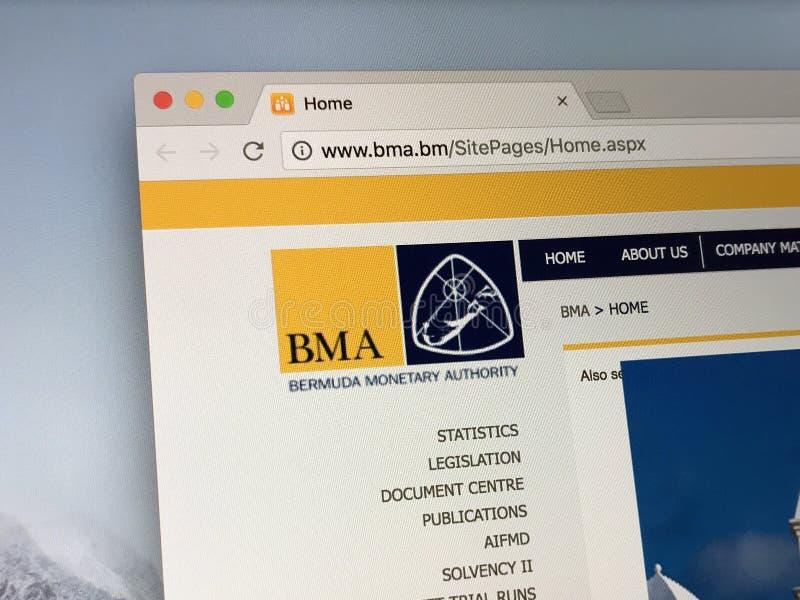 Homepage de la autoridad monetaria de Bermudas imagen de archivo