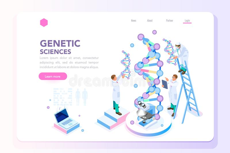Homepage de la bioquímica de Biotech del laboratorio de la genética stock de ilustración