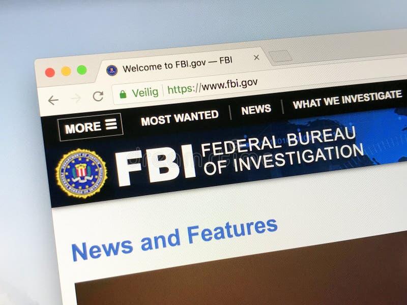 Homepage de la Oficina Federal de Investigación - F.B.I. del funcionario foto de archivo