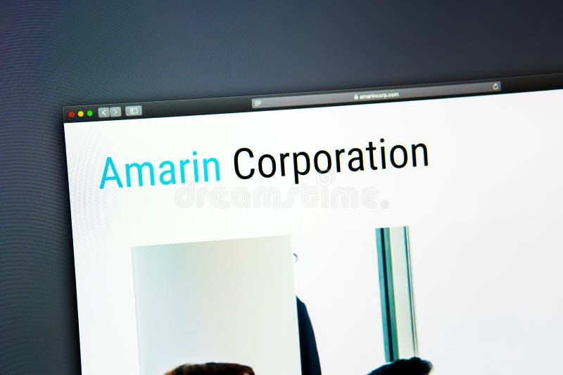 Homepage de la página web de la compañía de Amarin Ciérrese para arriba del logotipo de Amarin Corporation imágenes de archivo libres de regalías