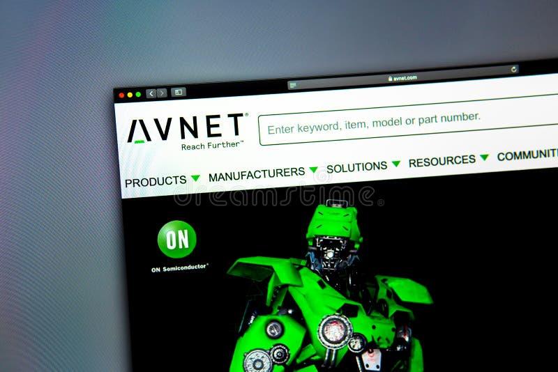 Homepage de la página web de la compañía de Avnet Ciérrese para arriba de logotipo de AVNET imagenes de archivo