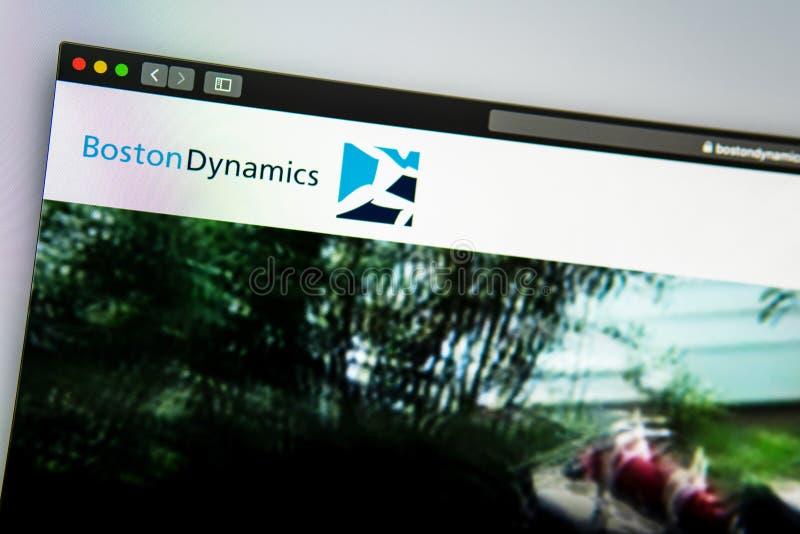 Homepage de la página web de la compañía de Boston Dynamics Ci?rrese para arriba de logotipo fotografía de archivo
