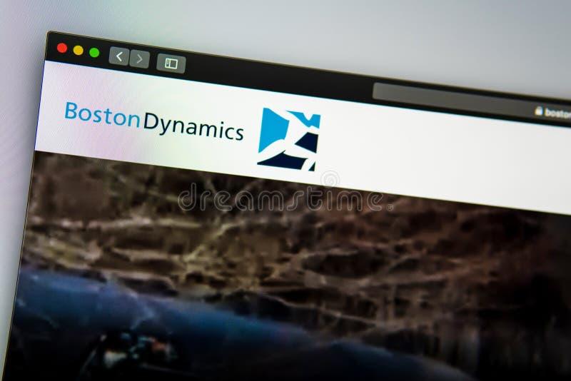 Homepage de la página web de la compañía de Boston Dynamics Ci?rrese para arriba de logotipo imagen de archivo